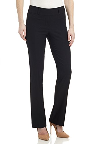 Rekucci Women's Ease in to Comfort Fit Barely Bootcut Stretch Pants (10,Black) (Best Women's Dress Pants For Work)