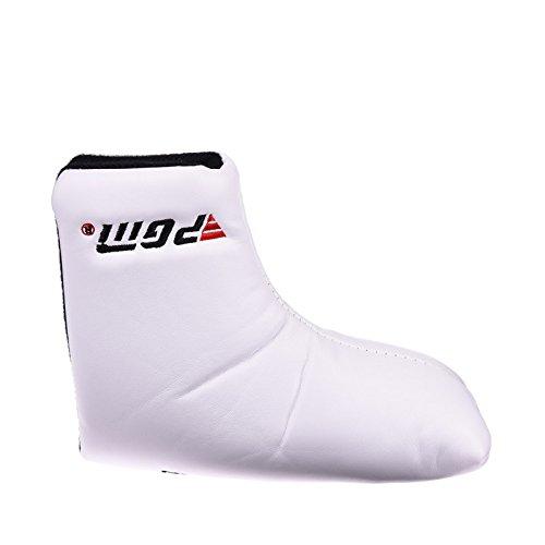 ユニバーサルゴルフパターヘッドカバー レザー 分厚い シャムロックパターヘッドカバー B074VYMKJ6  Putter Cover White