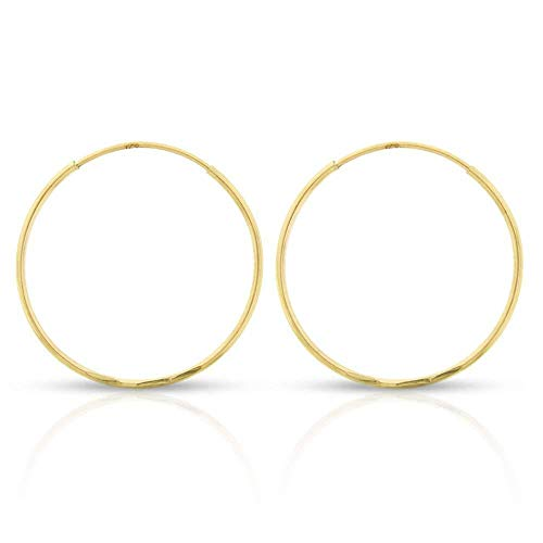 14k Yellow Gold Women's Endless Continuous Round Tube Hoop Earrings 1mm Thick 10mm - 20mm, Basic & Diamond-Cut (20mm Diamond-Cut)