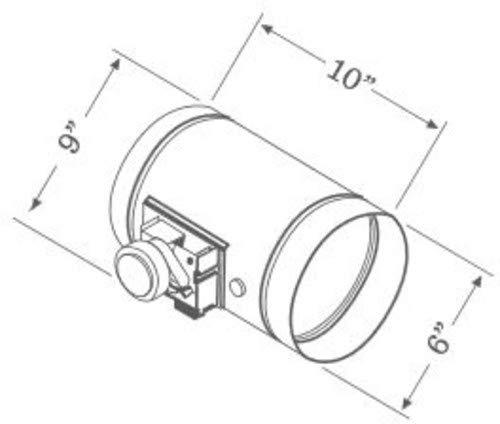 Zephyr MUA006A 6 Inch Round Universal Make Up Air Damper with 24VAC 60 Hz AC Mot, N/A