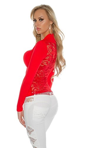 Sexy Spitzenshirt mit langen Ärmeln rot