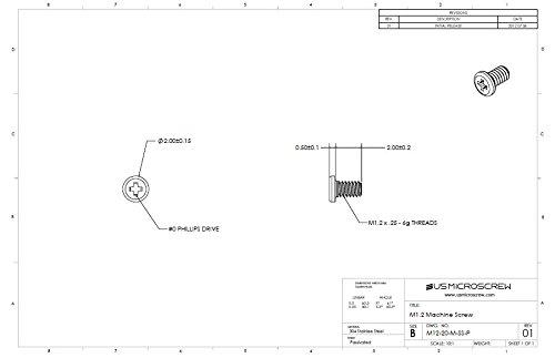 M1.2-0.25 X 6mm Machine Screw Stainless Steel Pan Head 6-Lobe Drive M12-60-M-SS-PT 100 Pcs
