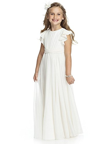 Fancy Chiffon Flower Girl Dresses Flutter Sleeves First Communion Dress(Size 12,Ivory) ()