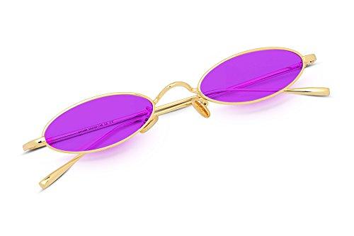 FEISEDY Vintage Small Sunglasses Oval Slender Metal Frame Candy Colors B2277 (Vintage Ovale Gläser)