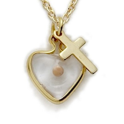 - 14K Gold Filled Mustard Seed Heart Necklace with Cross Charm on 18