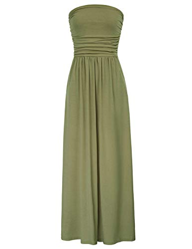 Women's Plus Size Comfortable Maxi Tube Dress Empire Waist Size M Army -