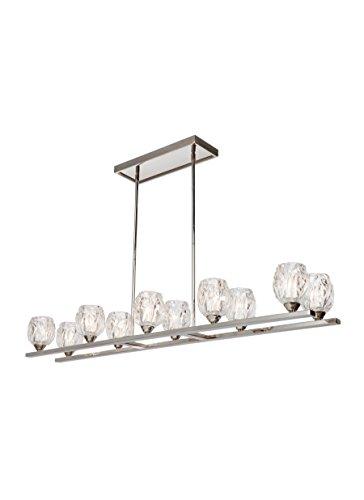 Feiss F3127/10PN Rubin Island Chandelier Lighting with Glass Shades, Chrome, 10-Light (49