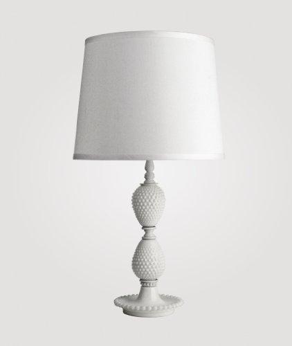 Milk medium lamp: hobnail milk glass & Countess white linen