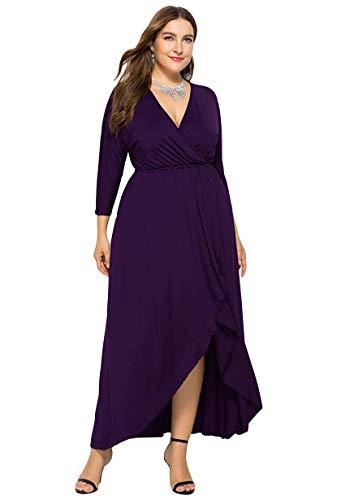 Taille V 4xl Violet Grande Sexy À Robe Manches Swing Xl Longues Maxi Yming Femmes Col IYf6mb7gyv
