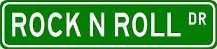 (Lancy's Artwork Rock N ROLL Street Sign Custom Street Signs - Sticker Graphic - Auto, Wall, Laptop, Cell, Truck Sticker for Windows, Cars, Trucks, Tool Boxes, laptops)