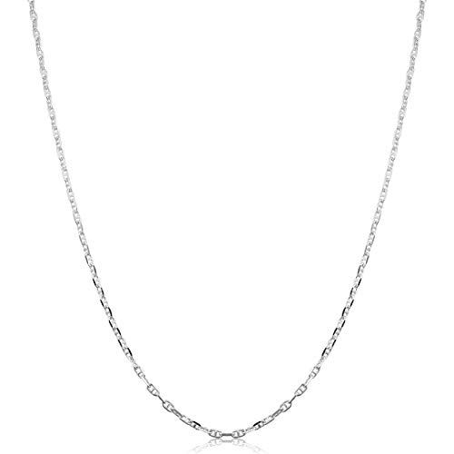 Link Fancy Chain - Sterling Silver 1.9mm Fancy Mariner Link Chain (16 inch)