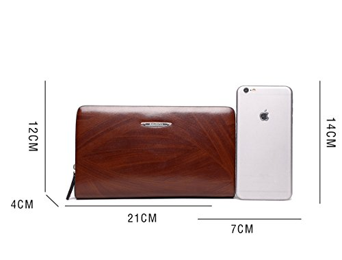 5f4f4b624b4c Mens Genuine Leather Long Wallet Zip Around Checkbook Clutch Bag ...