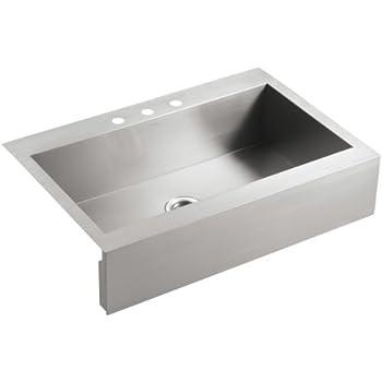 KOHLER K-3942-3-NA Vault Top-Mount Single-Bowl Kitchen Sink with ...