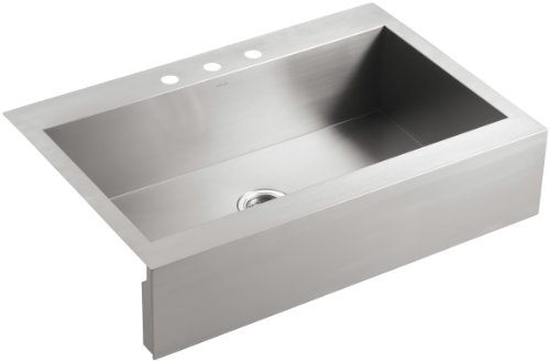 Top Mount Corner - KOHLER Vault Single Bowl 18-Gauge Stainless Steel Apron Front Three Faucet Hole Kitchen Sink, Top-mount Drop-in Installation with Sink Rack K-3942-3-NA