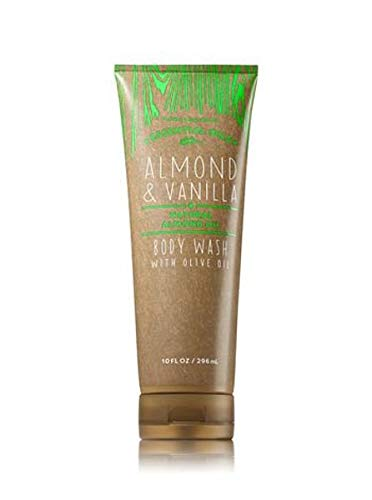 Essential Oils Body Wash - Bath and Body Works Oilve Oil Body Wash Almond and Vanilla plus Essential Natural Almond Oil and Olive Oil 10 Ounce Full Size Tan Green Packaging
