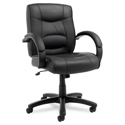 (Strada Series Mid-Back Swivel/Tilt Chair w/Black Top-Grain Leather Upholstery, Sold as 1 Each)