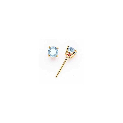 Gem 14kt Gold Aqua Yellow (ICE CARATS 14kt Yellow Gold Blue Aquamarine Post Stud Earrings Birthstone March Ball Button Gemstone Fine Jewelry Ideal Gifts For Women Gift Set From Heart)