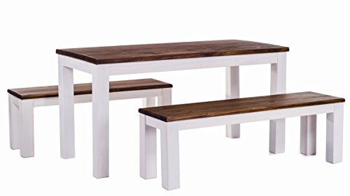 B.R.A.S.I.L.-Möbel TableChamp Dining Table Set for Four Rio Pine with Bench and Two Chairs Dark Brown Solid Wood Oak…