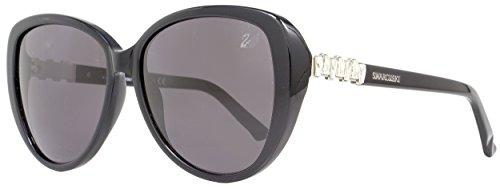 Swarovski Women's Chocolate Cateye Sunglasses,Shiny Black,57 - Sunglasses Swarovski