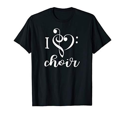 I Heart Choir T Shirt Love Music Chorus Treble Bass Clef (Treble Clef Bass Clef And Alto Clef)