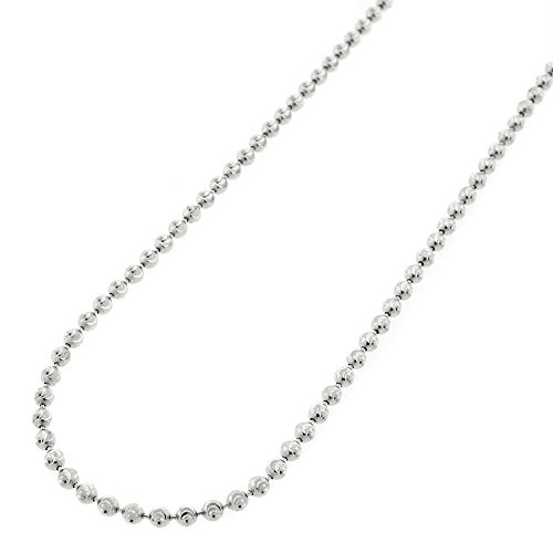 10k White Gold 2mm Moon Cut Ball Bead Solid Necklace Chain 16'' - 30'' (28) by In Style Designz