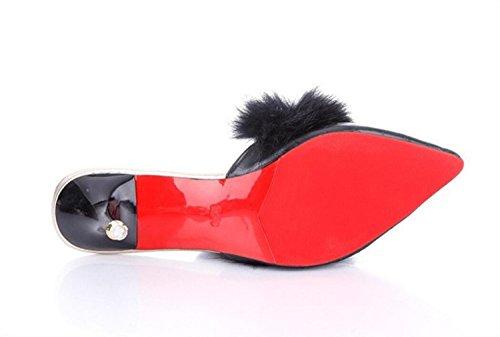 Tacón Mujer Rojo para y Zapatos de Aguja Blanco Zapatos para de caseros DANDANJIE Zapatillas Negro Confort Caminar Chanclas Negro PU Casual xwItqT5P