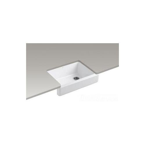 2in Depth Single Bowl Sink - Kohler K-6486-0 Whitehaven Self-Trimming Apron Front Single Basin Kitchen Sink with Short Apron, White