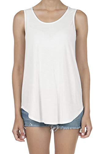 9052 Women's Soft Jersey Knit Scoop Neck Sleeveless Loose Tank Top Ivory XL