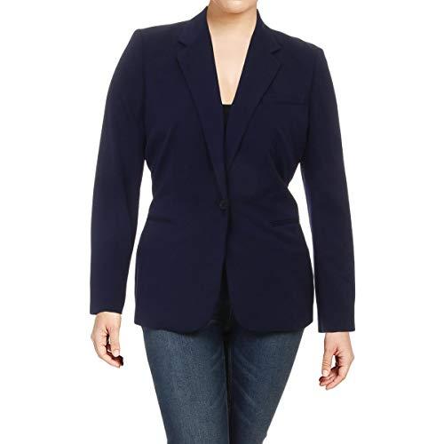 (LAUREN RALPH LAUREN Womens ANGONA Long Sleeves Jacket One-Button Blazer Navy 4)
