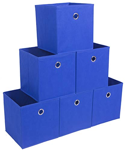 (Amborido Storage Cubes Foldable Drawers Office Toys Room Organizer Cubby Clothes Fabric Kids Bins 6 Pack (Royal Blue) )