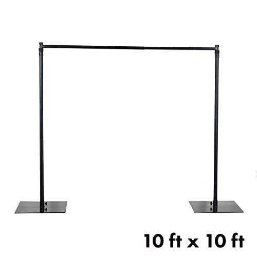 BalsaCircle 10 feet x 10 feet Black Backdrop Stand Kit with Steel Base - Wedding Ceremony Event Party Photo Booth Studio Decorations