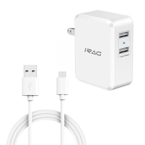 iRAG Charger for Moto E5/E5 Plus/E5 Play/G4/G4 Plus/G4 Play/G5S Plus/E4/C/G5 Plus/G5-24W 4.8A Dual USB Home Wall Charge Adapter with 6ft Micro USB Charging Cable Cord