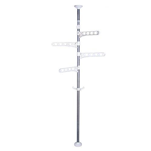 Ivory Coat Rack (Baoyouni 4-Tier Standing Clothes Laundry Drying Rack Coat Hanger Organizer Floor to Ceiling Adjustable Metal Corner Tension Pole, Ivory)
