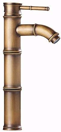 ZJN-JN 蛇口 蛇口流域ミキサータップ滝の蛇口アンティーク浴室竹水の節約は、大陸アンティーク真鍮流域ミキサー流域ミキサーキッチン冷たい水の蛇口浴室浴槽の蛇口レバーをタップ 台付
