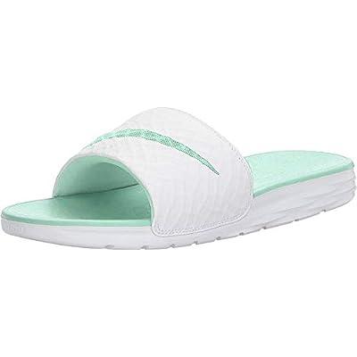 Nike Women's Benassi Solarsoft Slide Sandal White/Artisan Teal Size | Sport Sandals & Slides