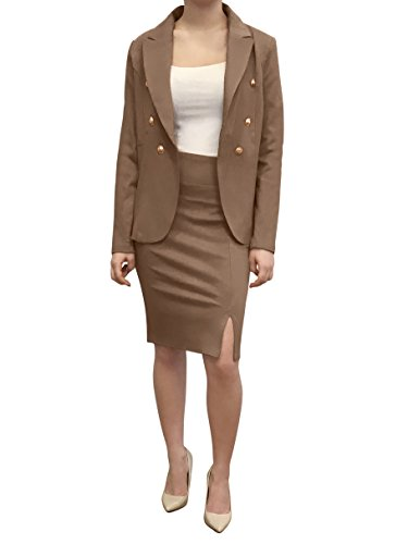 - OrlyCollection Womens Elegant Open Slit Pencil Skirt(Taupe,Large)