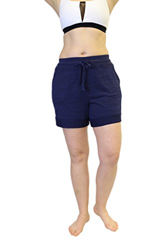 [90 Degree By Reflex Plus Size Activewear Lounge Shorts - Heather Navy - 1X] (Navy Activewear)