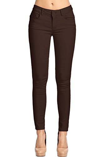 2LUV Women's Stretchy 5 Pocket Skinny Color Uniform Pants Coffee ()