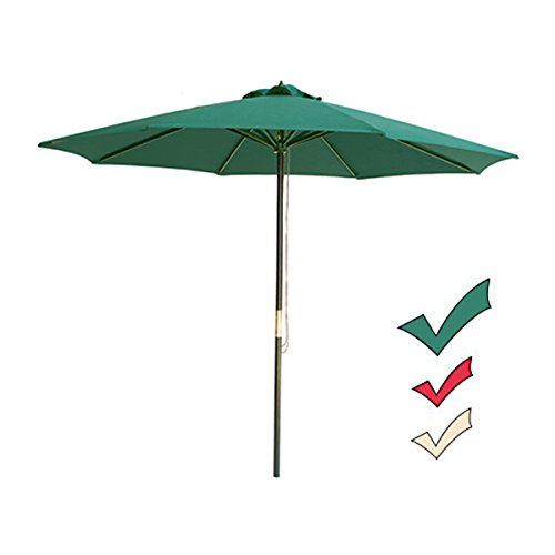 SUNNYARD 9 Ft Wood Patio Umbrella, Market Umbrella Outdoor Garden Yard Umbrella with Pulley Lift, 8 Ribs, Green ()