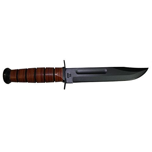 Ka-Bar 1220 US Army Straight Edge Fighting/Utility Knife with Leather