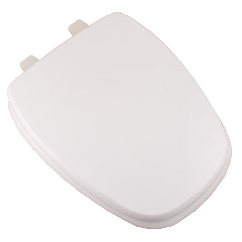 Comfort Seats C1B4E50-00 Deluxe MDF Wood Elongated Toilet Seat and Plastic Hinges, White