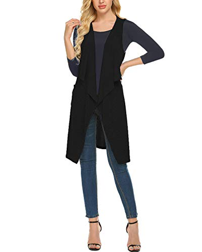 ZEGOLO Sleeveless Waterfall Jersey Cardigan Lightweight Draped Layering Vest with Pockets and Belt Black -
