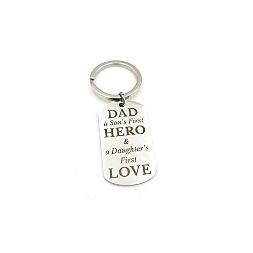 Daesar Mens Stainless Steel Keychain Gifts Dog Tag Engraved Dad a Son's First Hero & a Daugther 's First Love Women Keychain Accessories