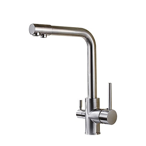 OWOFAN Round Deluxe 3 Way Kitchen Faucet for RO System - Brass Lead-Free Tri Flow 3 in 1 Drink Water Tap Mixer, Brushed Nickel (Cold Filter Faucet)