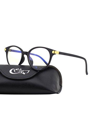 CGID CT38 Premium TR90 Frame Blue Light Blocking Glasses,Anti Glare Fatigue Blocking Headaches Eye Strain,Safety Glasses for Computer/Phone/Tablets,Circle Flexible Unbreakable Frame,Transparnet Lens