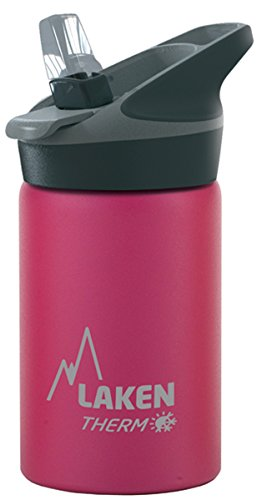 Laken Jannu Kids Insulated Stainless Steel Water Bottle with Straw Cap and Ha..., Fuchsia, 12 Ounce