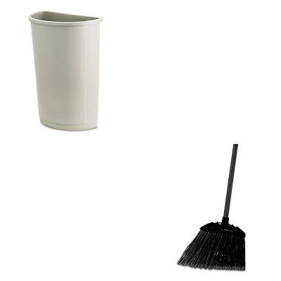 KITRCP352000BGRCP637400BLA - Value Kit - Rubbermaid Untouchable Waste Container (RCP352000BG) and Rubbermaid-Black Brute Angled Lobby Broom (RCP637400BLA) by Rubbermaid