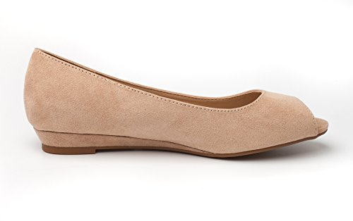 DREAM PAIRS Damen Damen Low Wedge Peep Toe Flats Schuhe Nude Wildleder