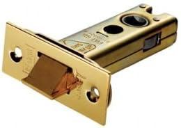 "Eurospec Tubular Heavy Duty Sprung Door Latch 103mm 4/"" Brass and Satin Plates"