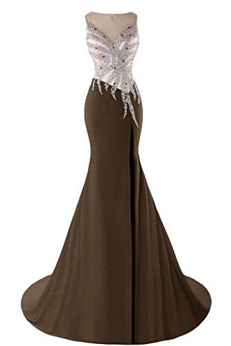 sunvary Mermaid Sweetheart cuentas cristales de raso noche vestidos Homecoming marrón